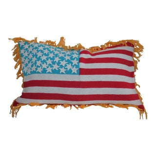 Hand Crochet Vintage Flag Pillow For Sale
