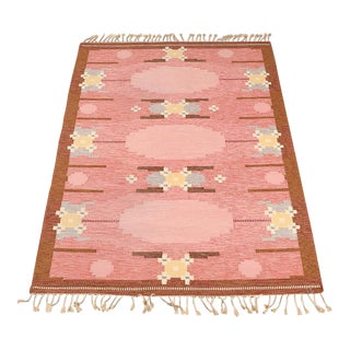 VintageIngegerd Silow Handwoven Swedish Flat Weave Rug - 5′7″ × 7′7″ For Sale
