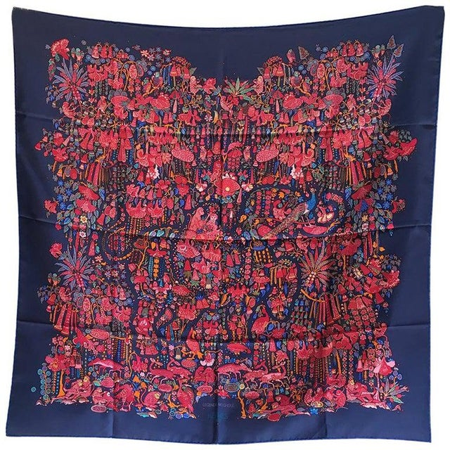 Silk Hermes Legende Moghole Silk Scarf in Navy Blue For Sale - Image 7 of 7