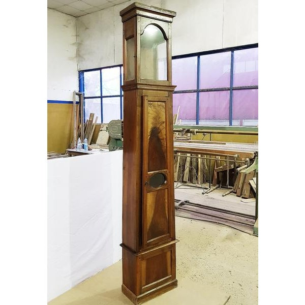 19th century French Very Tall Oak Clock Case Glass windows on the sides of the clock housing. The front panel is a door...
