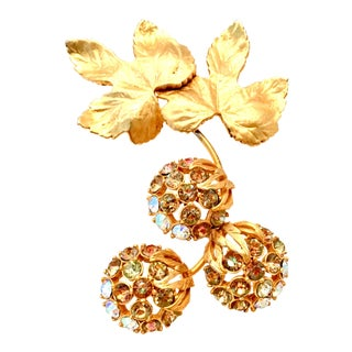 "50's Elsa Schiaparelli Gold & Swarovski Crystal "" Forbidden Fruit"" Brooch For Sale"