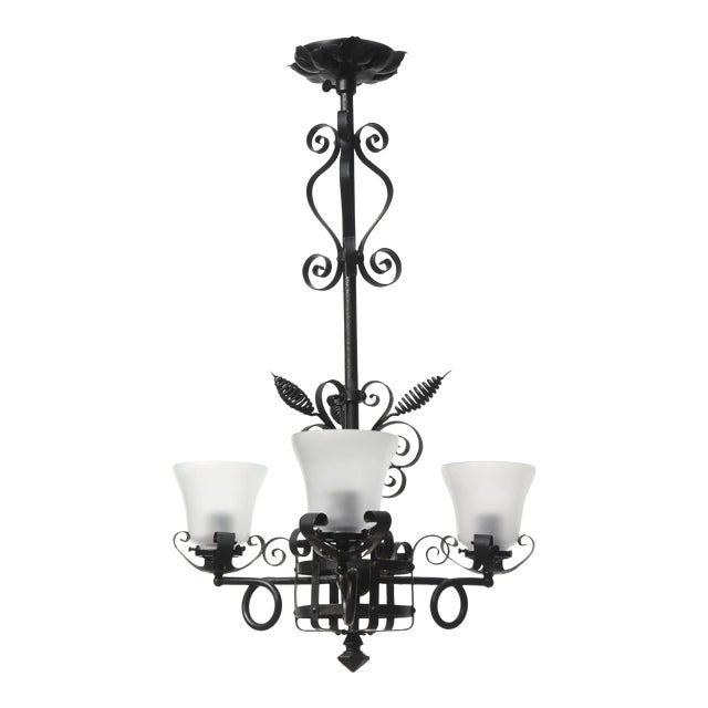 Three Light Wrought Iron Chandelier For Sale