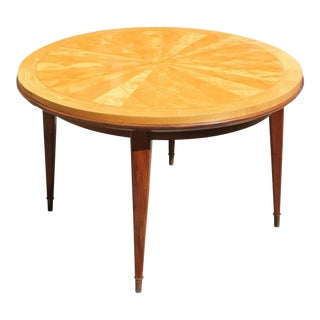 Jules Leleu French Art Deco Sunburst Round Dining Table
