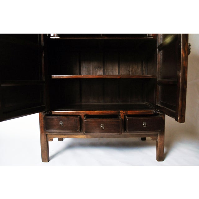 Asian Impressive Two Section Cabinet With Five Drawers For Sale - Image 3 of 13