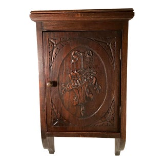 19th Century French Country Carved Oak Wall Cabinet For Sale