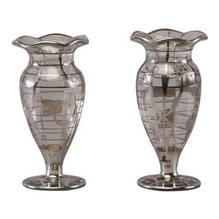 Pair Silver Overlay Glass Vases