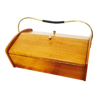 Mid Century Wood Sewing Box