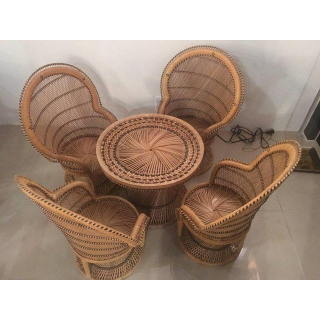 Rattan Wicker Peacock Children's Dining Table Chairs Set For Sale - Image 10 of 12