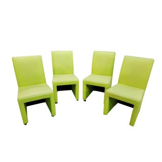 Set of Four Mid '90s Vintage Lemon Green Skirted Faux Leather Modernist Dining Chairs For Sale