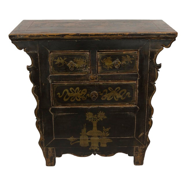 Antique Black Gansu 3 Drawer Small Cabinet For Sale
