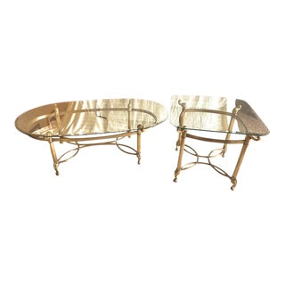 La Barge Brass & Glass Hollywood Regency Tables - A Pair For Sale