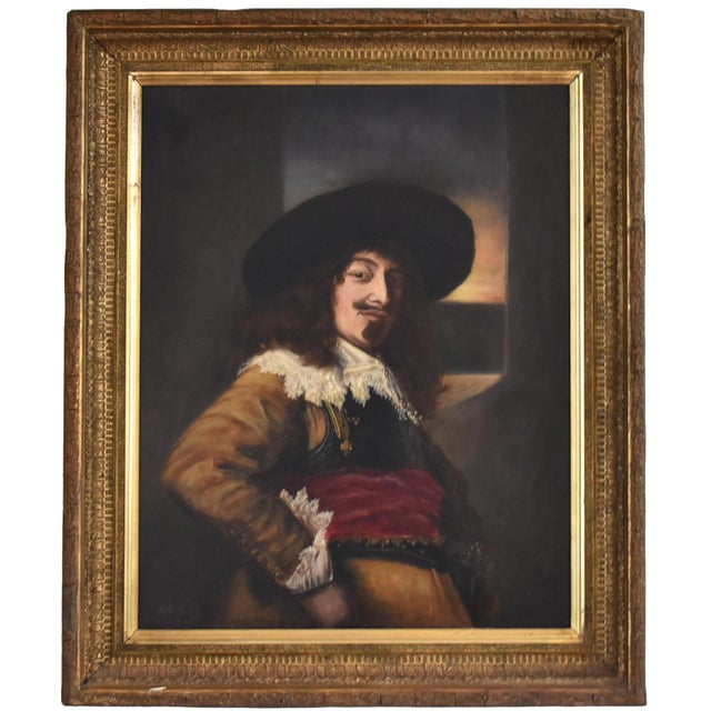 Antique 19th-Century Oil Painting After Frans Hals - Portrait of an Officer For Sale - Image 10 of 10