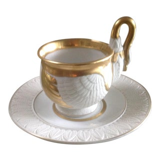 1950s Empire Style Porcelain Swan Cup & Saucer For Sale