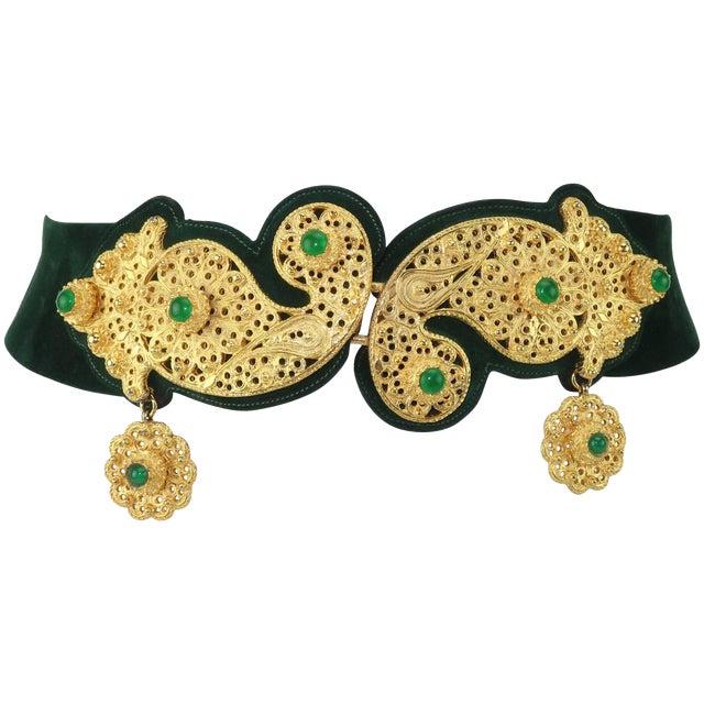 1970's Judith Leiber Gold Filigree Mughal Style Emerald Green Belt For Sale
