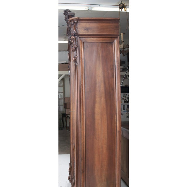 French French 19th Century Louis XV Carved Walnut Mirror-Front Armoire For Sale - Image 3 of 10