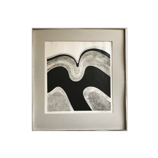 1970s Mid-Century Abstract Black White Hand Signed Serigraph Limited Edition Matted Art Print For Sale