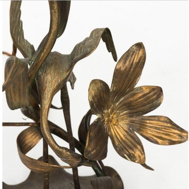Art Nouveau Brass Crane Lamp Circa 1910 For Sale - Image 3 of 8