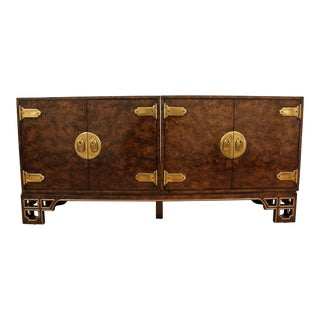 Mid-Century Asian Modern Credenza by Mastercraft Amboyna Burl 3-Piece For Sale