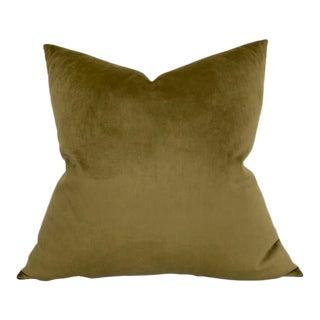 Velvet Pillow Cover in Olive For Sale