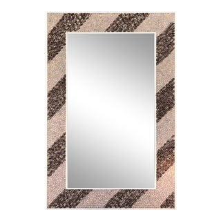 Mid-Century Modern Rectangular Shell Mosaic Frame Mirror Art For Sale
