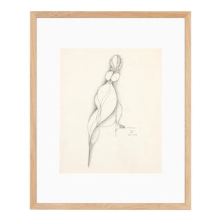 Vintage 1956 Framed Drawing of Abstract Nude Figure by Albert Radoczy For Sale