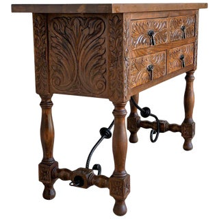 20th Spanish Carved Walnut Console Sofa Table, Four Drawers and Iron Stretcher For Sale