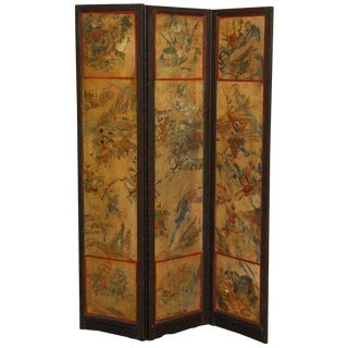 Chinese Qing Dynasty Three Panel Lacquered Screen