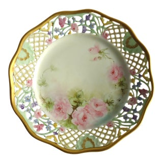 Schumann Porcelain Reticulated Hand Painted Floral Plate