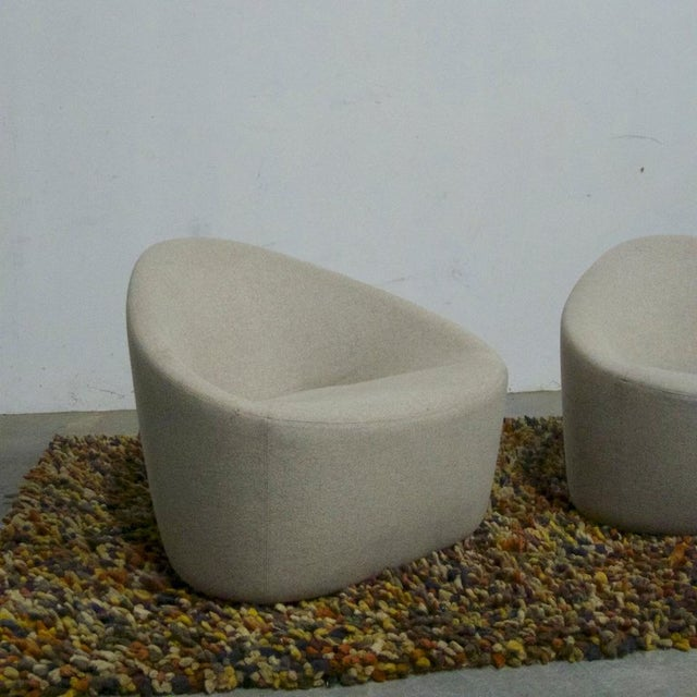Early 21st Century Zanotta Italian Modernist Sculptural Upholstered Lounge Chairs - a Pair For Sale - Image 5 of 9