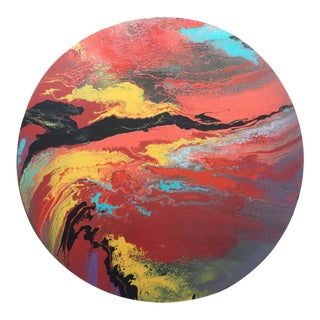 "Contemporary Oil Painting on Round Panel ""Galaxy Bounce Iv"" by Misty Wilson"