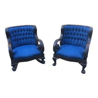 1930s Vintage Art Deco Blue Chairs- A Pair For Sale
