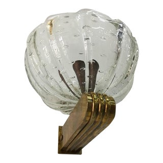 Barovier e Toso Single Murano and Brass Wall Light For Sale