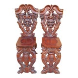 Image of Antique Italian Renaissance Carved Ornate Figural Walnut Hall Chairs - Pair For Sale