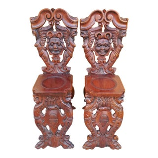 Antique Italian Renaissance Carved Ornate Figural Walnut Hall Chairs - Pair For Sale