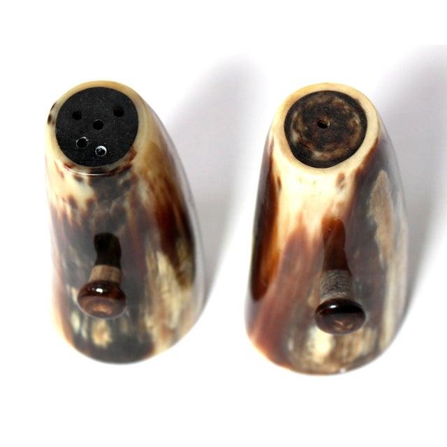 Vintage Unused Hand Carved Natural Horn Salt & Pepper Shakers For Sale - Image 4 of 5