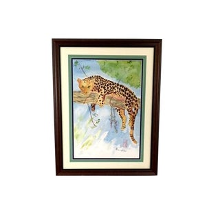 Lounging Leopard Original Watercolor Signed Patricia Flaten For Sale