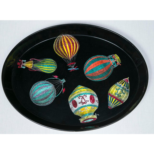 1950's transfer-decorated metal tray by Piero Fornasetti (Italy). Original label on bottom.