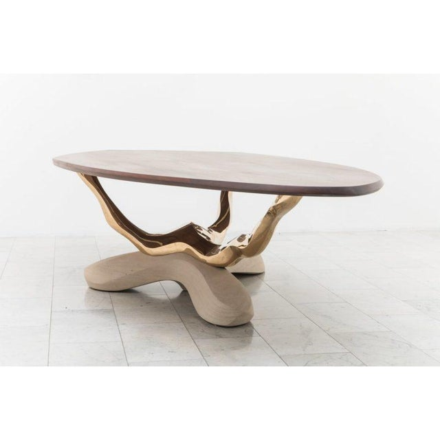 Bronze Markus Haase, Bronze, Walnut, and Limestone Dining Table, Usa, 2018 For Sale - Image 7 of 13