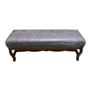 Parker Southern Tooled Leather Bench For Sale