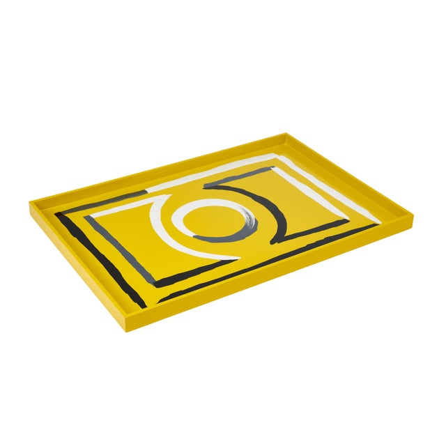 Luke Edward Hall Collection Large Etienne Tray in Yellow For Sale