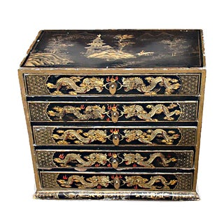 Antique Lacquered Dragon Chest For Sale
