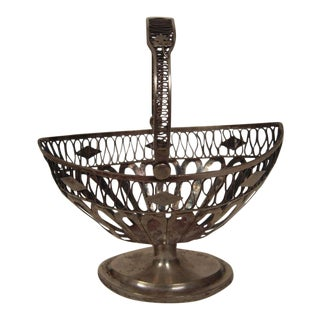 European Neoclassical Silver Basket For Sale