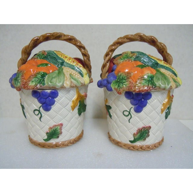 Red Fitz & Floyd Vegetable Fruit Basket Canisters - A Pair For Sale - Image 8 of 8