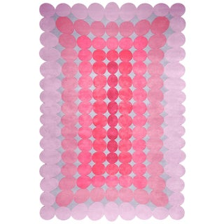 Hand Tufted Nz Wool Bubbles Gum Rug - 6′7″ × 9′10″ For Sale