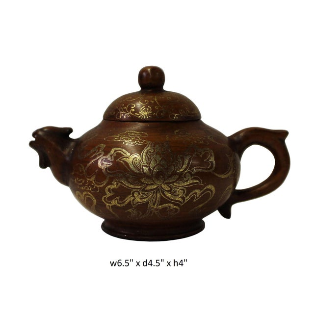 Clay Chinese Zisha Clay Brown Golden Scenery Teapot Display For Sale - Image 7 of 8