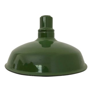 20th CenturyIndustrial Green Enamel Pendant Shade For Sale
