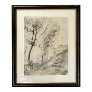 Sketch of Woman by Tree Signed Corot, Framed For Sale