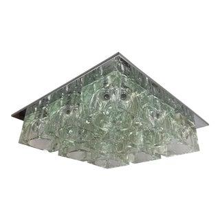 Mid-Century1970s Gaetano Sciolari Nine-Light Crystal Cube Flush Mount Lamp Lightolier For Sale