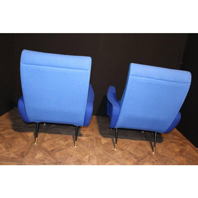 1950s Italian Pair of Blue Mid-Century Chairs in the Style of Zanuso For Sale - Image 5 of 8