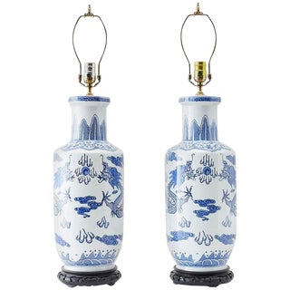 Pair of Chinese Blue and White Porcelain Vase Dragon Lamps For Sale